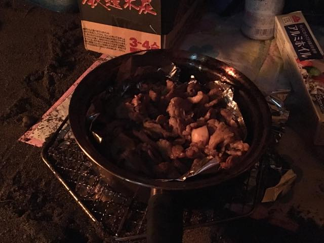 BBQスタイルで美味しくいただいたジンギスカン